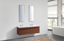 SALE! Brown Modern Wood Double Vanity Unit Bathroom Two Sink Mirror Twin Sink