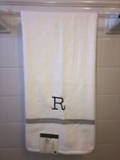 "NWT~ Threshold Monogram Bath Towel White with Gray  ""R""  New Bright White THICK!"