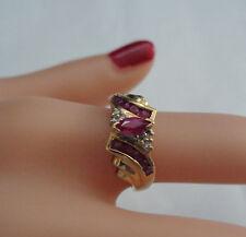 VINTAGE DIAMOND & RUBY RING 10KT YG WT. 2.6 GRAMS
