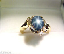 VINTAGE 1950's GENUINE BLUE STAR SAPPHIRE 2.27 CTS  with DIAMONDS  14K GOLD RING
