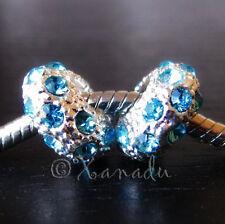 2PCs Aquamarine Blue March Birthstone Charm Beads For European Charm Bracelets
