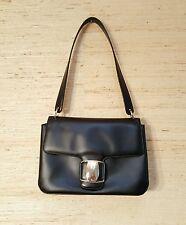 Auth Salvatore Ferragamo Vara Logos Shoulder Bag Clutch Black Leather Italy