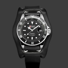Military Royale Mechanical Mens Watch Black Leather Strap Date Display Automatic