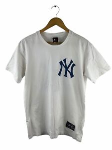 VINTAGE New York Yankees T Shirt Adults Size L White Short Sleeve Logo Crew Neck