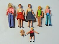 """Lot of 7 Plastic Toy Dolls 3 1/2"""" Fisher Price '74, others Made in Hong Kong"""