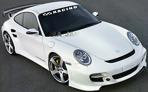 RACING Windshield Flag Decal Stickers sport car sticker WHITE