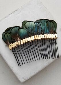Anthropologie Plumed Hair Comb Designer Serefina Hair Comb Feather Accessories