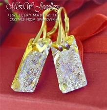 GOLD PLATED SILVER EARRINGS CRYSTALS FROM SWAROVSKI® GROWING RECTANGLE 26MM