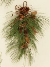 SWAG SPRAY PINE DECORATION BRANCH W/ RUSTY RIBBON, PINECONES AND GINGHAM FABRIC