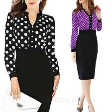 Womens polka dot Dress Ladies chiffon Office Career Cocktail bodycon style Size