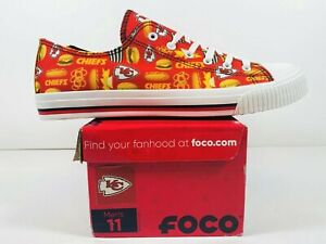 FOCO Kansas City Chiefs Low Top Canvas Shoes NFL Tailgaiting Game Day Men Sz 11