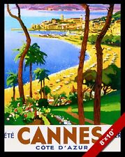 VINTAGE FRENCH CANNES RIVIERA VACATION TRAVEL AD POSTER ART REAL CANVAS PRINT
