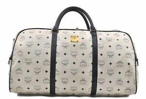 Authentic MCM Visetos Leather Vintage Travel Boston Bag White Navy E0624