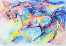 Blue stallion Original watercolor painting,equine,Horse running equestrian art