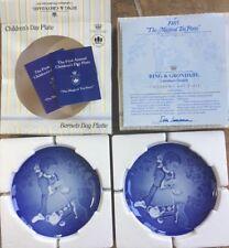 2 1985 Bing Grondahl B&G 1st Edition CHILDRENS DAY PLATE Magical Tea Party NIB