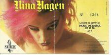 RARE / TICKET BILLET PLACE CONCERT - NINA HAGEN : LIVE A PARIS ( FRANCE ) 1980