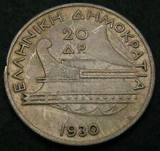 GREECE 20 Drachmai 1930 - Silver - VF - 1029