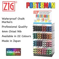 Zig Posterman Waterproof Liquid Chalk Marker Pens 6mm Nib PMA-50 *Limited Stock