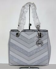 ddc8c4bcc119 New michael kors cynthia small N S satchel chevron patches dove silver bag  tote
