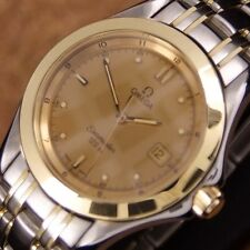 Authentic Omega Seamaster Date 120M Gold Bezel Gold Dial Quartz Mens Wrist Watch