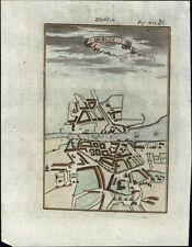 Dublin Ireland city plan 1719 charming antique engraved folk art curious map