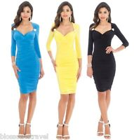 Goddess Sweetheart Neckline Diamante Trim 3/4 Sleeves Fitted Ruched Party Dress