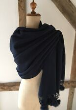 NAVY 100% WOOL SHAWL/ WRAP SCARF WITH FUR POM POM TRIM.