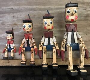 Vintage Traditional Wooden Puppet Pinocchio Sitting Ornament - 4 Sizes