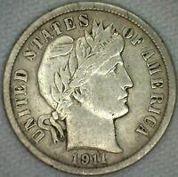1911 Silver Barber Dime 10 Cent US Coin 10c VF Very Fine Philadelphia K22