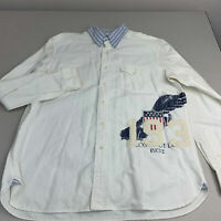 Ralph Lauren Button Up Shirt Mens Sz XL White Long Sleeve Custom Fit Embroidered
