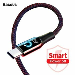 Baseus USB Type C Charger Cable LED Light 3A Smart Auto Disconnect Fast Charge