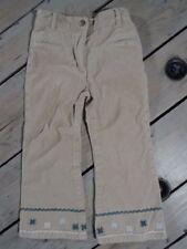 Pantalon beige aspect velours brodé bleu et blanc CHILDREN Taille 4 Ans / 102 cm
