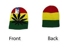 """8"""" Rasta Rastafarian Weed Marijuana Pot Leaf Snow Cap Beanie Skull Cap Hat"""