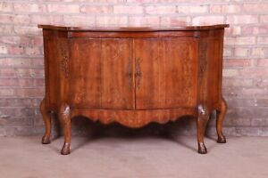 Heritage Italian Provincial Carved Walnut Commode or Bar Cabinet