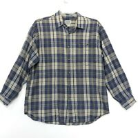 Brittania Flannel Cotton Shirt Mens L Large Blue Plaid Long Sleeve Button-Up