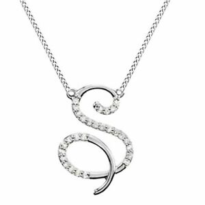 """1/4 Ct Simulated Diamond """"S"""" Initial Pendant 18"""" Necklace Solid 14K White Gold"""