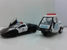 "New 5"" Kinsmart Lamborghini & SCOOTER Police Car Diecast Model Toy 1:38 SET OF 2"