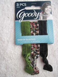 3 Goody Ribbon Elastics Ponytailer Hair Bands No Metal Shiny Camouflage Green