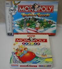 Parker Monopoly Tropical Tycoon DVD TV Game & Waddingtons Monopoly Junior Bundle