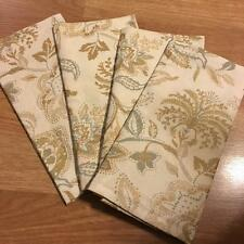 Raymond Waites Napkins Silver & Gold on Cream Floral Leaves Pattern Set of 4 New