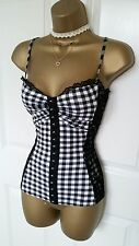Jane Norman Black White Gingham Lace Gypsy Top Size 12 BNWT