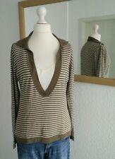 Pullover 2 in 1 braun weiß gestreift 38 Shirt  Langarmshirt Damen 40 L Kragen