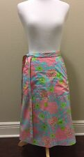 Lilly Pulitzer Women's Pink Elephant Floral Vintage Wrap Skirt Size 0