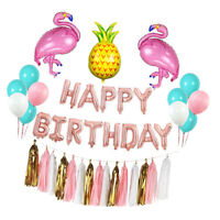 Hawaiian Flamingo and Pineapple Balloon Sets Happy Birthday Banner Decor