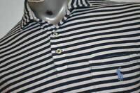 3683-a Mens Polo Ralph Lauren Dress Shirt Size Medium Blue Striped