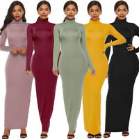 Women's Casual Turtle Neck Long Sleeve Maxi Dress Party Bodycon Evening Dresses