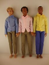 3 Ken Doll Outfits 3 Pair of Pants & 3 Long Sleeve Dress Shirts in Bright Colors