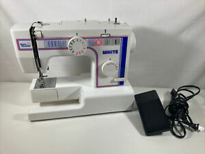 White Jeans Machine Sewing Machine Model 1888 with Pedal and Box! Working!