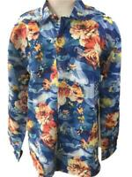 Qingduomao mens Hawaiian shirt size 3XL long sleeve blue orange floral NEW