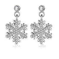 BERRICLE Silver Cubic Zirconia Snowflake Fashion Dangle Drop Earrings